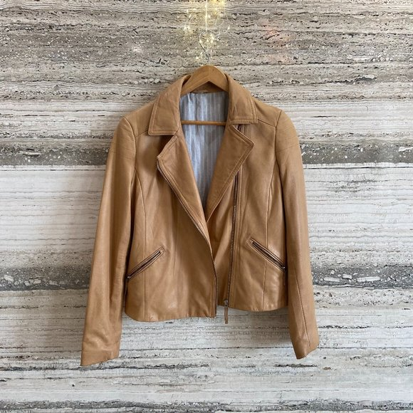 Massimo Dutti Tan Real Leather Jacket Size 38